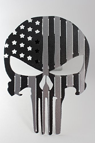 Punisher Flag Trailer Hitch Cover Black and Silver by Turpins Horseshoe Creations