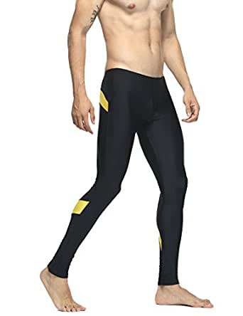 "TAUWELL Mens Sports Compression Tights Leggings (M(28-30""), 6141 Black/Gold)"