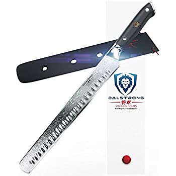 Image of Home and Kitchen DALSTRONG Slicing Carving Knife - 12' Granton Edge - Shogun Series - Japanese AUS-10V Super Steel - Damascus - Vacuum Treated - Sheath