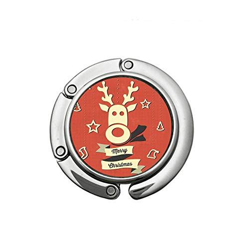 (Round Folding Wallet Hook Handbag Table Hanger Merry Christmas Reindeer)