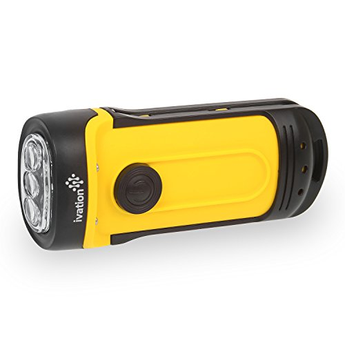 Ivation Waterproof Rechargeable Flashlight Cranking
