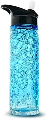 20 oz. Blue Asobu PF-01-2939 Perma-Frost Water Bottle with Double Wall Freezer Gel Pack
