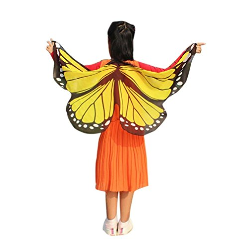 2017 Halloween Mom & Daughter Family Suit Butterfly Print Shawl Cape Scarf Fairy Poncho Wrap Costume Accessory (Mom, Yellow)]()