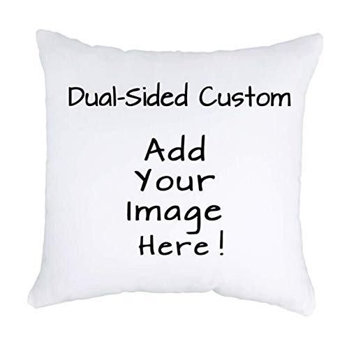 """Luxbon Personalised Cushion Cover 45cmx45cm Double-sided Printed Any Text & Picture Custom Pillow Cases White 18""""x18"""" Advanced Velvet Fabric Unique Wedding Pet Gifts Ideal Decors"""