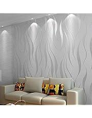 HANMERO Moderne Minimalistische Niet-Geweven Behang 3D Flocking Reliëf Behang Roll Woonkamer Slaapkamer Zilver Grijs, 550608