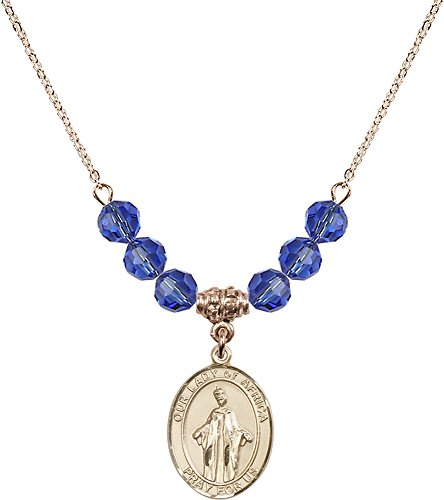 18-Inch Hamilton Gold Plated Necklace with 6mm Sapphire Birthstone Beads and Gold Filled Our Lady of Africa Charm. by F A Dumont