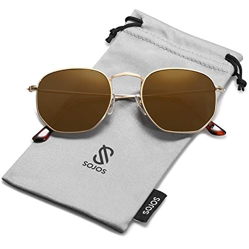 SOJOS Small Square Polarized Sunglasses for Men and Women Polygon Mirrored Lens SJ1072 with Gold Frame/Gold Mirrored Polarized - Medium Square Sunglasses