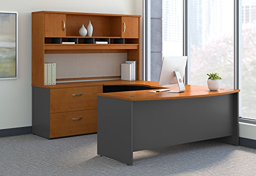 Bow Front Desk (Bush Business Furniture SRC005NCLSU Series C 72W Left Handed Bow Front U Shaped Desk with Hutch and Storage, Natural Cherry)