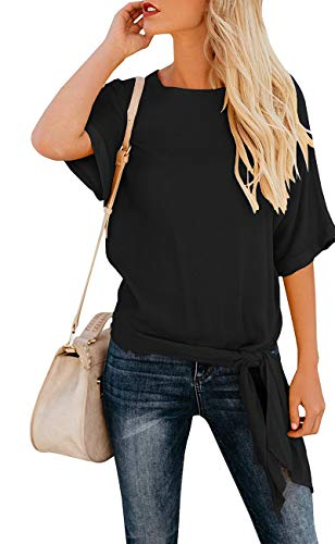 OURS Women's Loose Round Neck Knot Tie Front Half Sleeve T Shirt Tops (Black,XL) ()