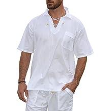 PURE COTTON Men's White Shirt 100% Cotton Casual Hippie Shirt V-Neck Drawstring Short Sleeve Beach Yoga Top