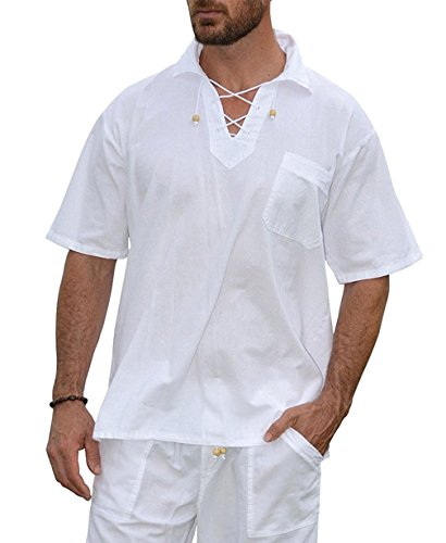 PURE PLANT HOME Men's White Shirt 100% Cotton Casual Hippie Shirt V-Neck Drawstring Short Sleeve Beach Yoga Top (White with Collar, Medium) -
