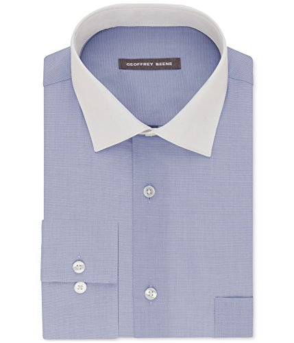 Geoffrey Beene Mens Wrinkle Free Button Up Dress Shirt Blue 18