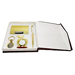 Crownlit 4 in 1 Gift Set with Table Clock, Metal Keychain, Card Holder and Crystal Pen Set