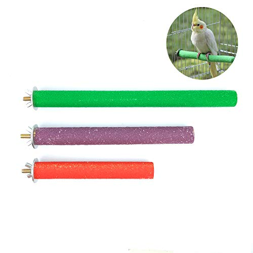 3 Pcs Bird Cage Perch Parrot Parakeet Perches, Colorful Wood Bird Stand Toy Bird Cage Sticks Accessories Supplies for Amazon Parrots, Conures, Cockatiel, Parakeet from Chnee