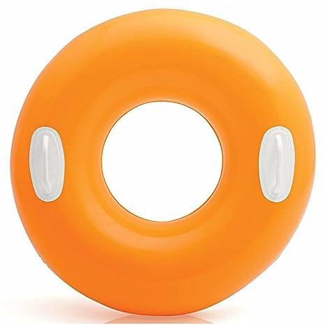 Flotador con mango colores neon 76 cm Anillo flotante en naranja: Amazon.es: Juguetes y juegos