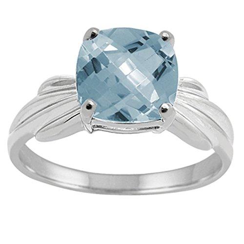 Cushion Cut Aquamarine Ring in 10K White (Cushion Cut Aquamarine Ring)