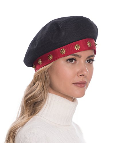 Eric Javits Luxury Fashion Designer Women's Headwear Hat - Saxon - Black/Red
