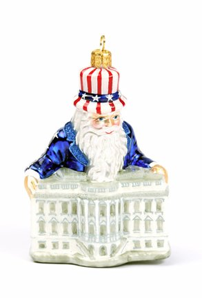 Slavic Treasures PAT085003 White House Santa Patriotic Blown Glass Ornament