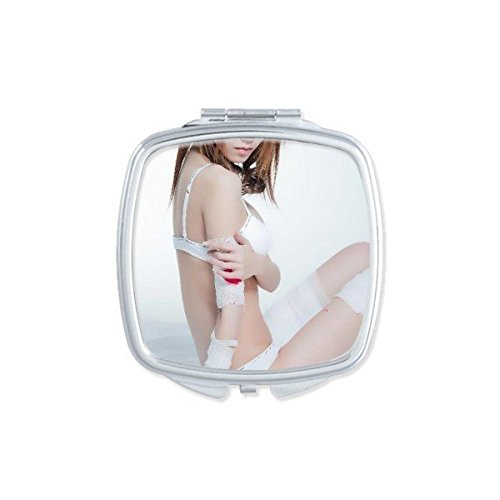 Japan and South Korea White Thong Lace Nude Back Girl Gal Lady Square Compact Makeup Pocket Mirror Portable Cute Small Hand Mirrors - Babes Nude Mirror