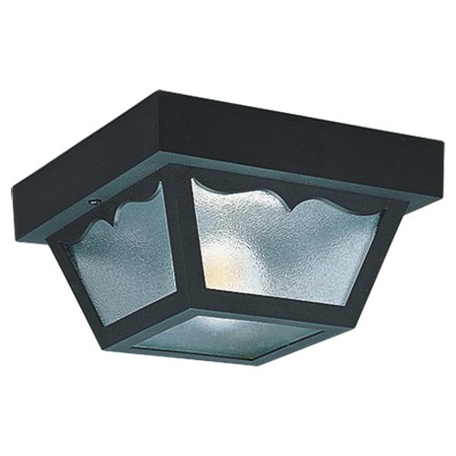 Sea Gull Lighting 7569-32 2-Light Outdoor Close-to-Ceiling Fixture, Clear Textured Glass and Black