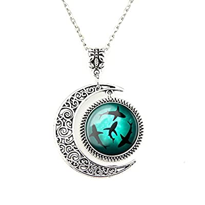 Moon Pendant Circling Sharks Necklace Shark Jewelry Ocean Pendant Best Friend Jewelry Gifts for BFF