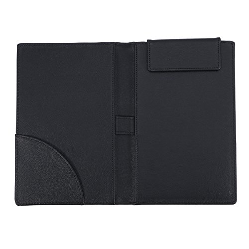 VORCOOL PU Leather Menu Folder Guest Check Presenter with Pen Clip for Hotel Bar Salon KTV Restaurant (A067 Black)