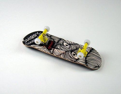 "–Monopatín para dedos Shibby Champange # 2""Aaah Deck + ejes Amarillo + final de giratorio PU Wheels Color Blanco de freefingers® Handmade Wood mini-tabla"