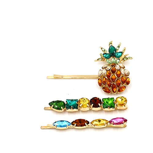 3 Pack of Bejeweled Pineapple and Jewel Hair Pins Clips KELMALL COLLECTION