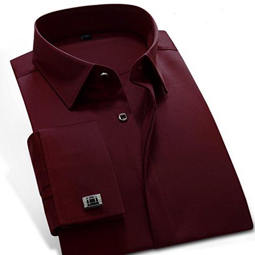 QB French Cuff Shirts For Men Slim Fit Men Shirts Long Sleeve Dress Shirts Large (Double Cuff Shirt)