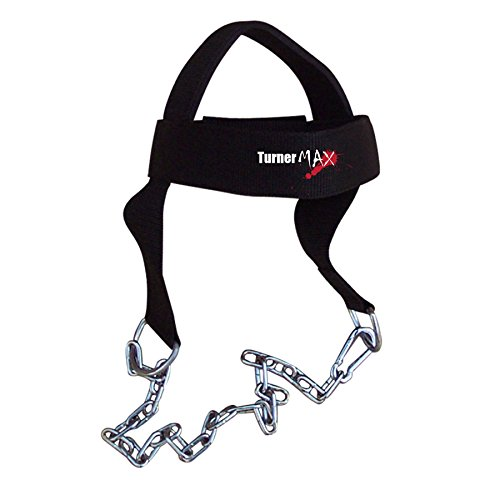 [TurnerMAX Cotton Head Harness Neck Weight Deluxe Training belts with Chain] (Deluxe Cotton Black Belt)