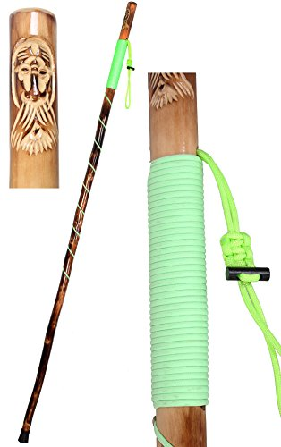 Custom Carved Blades (Wooden Walking Canes Wood Walking Stick Rope Wrapped Wooden Hiking Stick with Hand-Carved Old Man Design (55