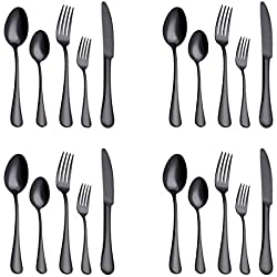 20-Piece Flatware Silverware Set Service for 4 Stainless Steel Cutlery Include Knife Fork Spoon Dishwasher Safe (Black)