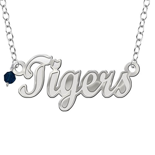 (Collegiate Jewelry Auburn University Tigers Script Necklace with Color Crystal Accent)