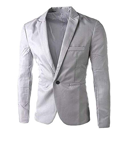 Rising ON Men's Fashion Dress Slim Fit One Button Blazer Jacket,US-S,Gray