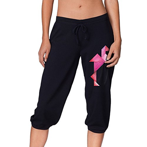 Women's Tangram Flamingo Cropped Trousers,Lounge Harem Pa...