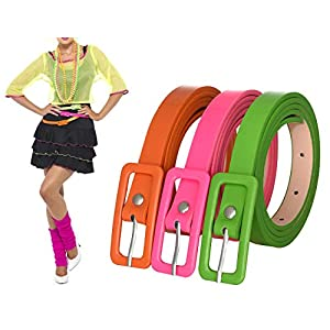 Womens 3 Pack Covered Buckle Neon Patent Leatherette Skinny Belt Green Orange Pink Belt