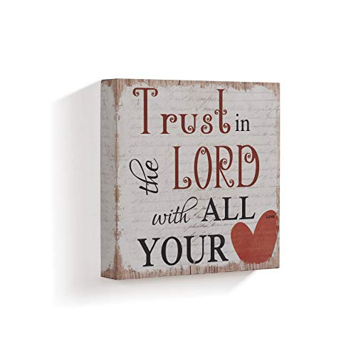 Trust in The Lord with All Your Wood Plaque, Inspirational Quote Wood Sign with Saying Heart Printed Wooden Wall Art Modern Contemporary Shabby Chic Style Decorative Red 11.87 X 12 Inch, MDF Wood