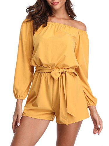 MISS MOLY Rompers for Women Boat Neck Off The Shoulder Strapless Mid Rise Jumpsuit with Belt Yellow