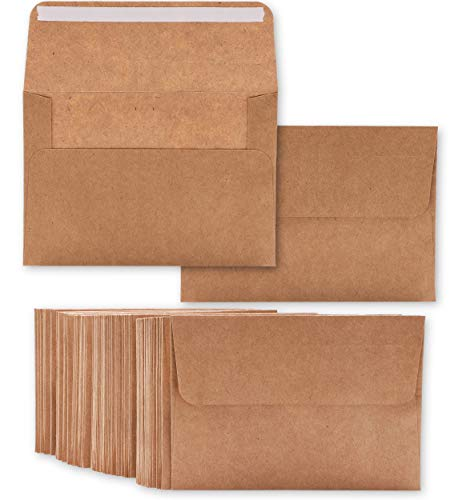 - Best Paper Greetings 50-Count Kraft A7 Invitation Envelopes Bulk Set for 5 x 7 Inch Wedding Cards, Photos, Baby Shower Invites - Square Peel & Stick Flap, 5.25 x 7.25 Inches (Renewed)