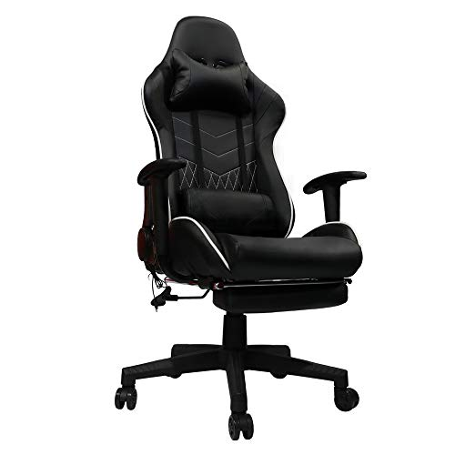 Kinsal Gaming Office Chair with Footrest Game Racing Ergonomic Backrest and Seat Height Adjustment Computer Chair with Pillows Recliner Swivel Headrest and Massage Lumbar Tilt E-Sports Chair (Black) Kinsal