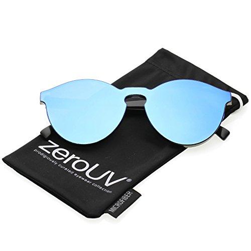 zeroUV - One Piece PC Lens Rimless Ultra-Bold Colored Mirror Mono Block Sunglasses 60mm (Light Blue - Zerouv Futuristic