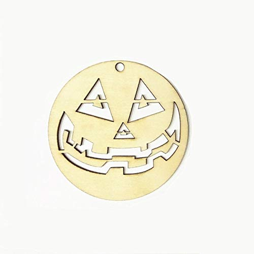SaveStore 10pcs Wooden Tags Skull Shape Garland Round Funny Face Shape Craft Halloween Hanger Party Favors Decoration