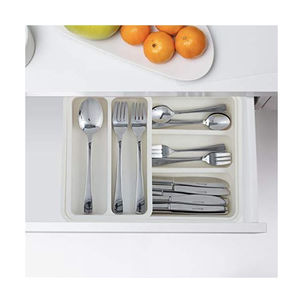 Relaxdays Besteckkasten, ausziehbar, 7 Fächer, für Besteck & Küchenutensilien, Kunststoff, HBT 6x23,5x31,5 cm, weiß