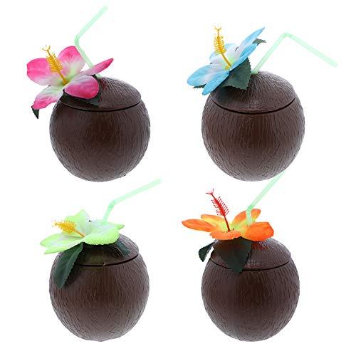 Multi Flowers Brown Hawaiian Luau Coconut Beach Straw Cup - Set of -