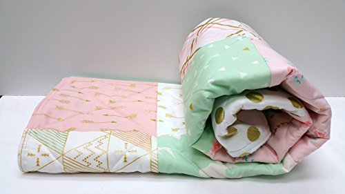 Baby Quilt, Modern Girl, Mint Light Coral/Pink, Gold Metallic with Arrows by Now and Then Quilts