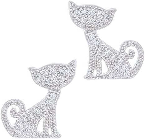 Orrous & Co. Legacy Collection Women's  18K White Gold Plated Cubic Zirconia Cat Stud Earrings, One Size