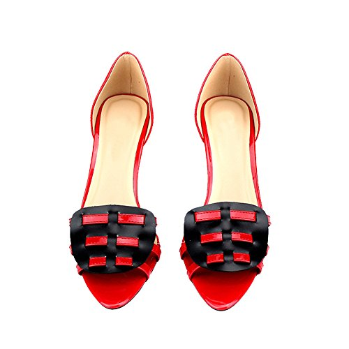 fereshte heel Size Peep Sandals Large Mid Spliced Kitten Womens strap toe Red SCXqrHSw
