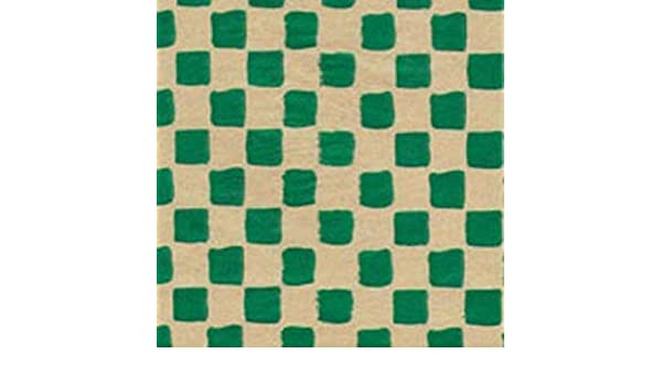 Primitive GREEN CHECK on Kraft Tissue Paper # 439 ~ 10 Large Sheets