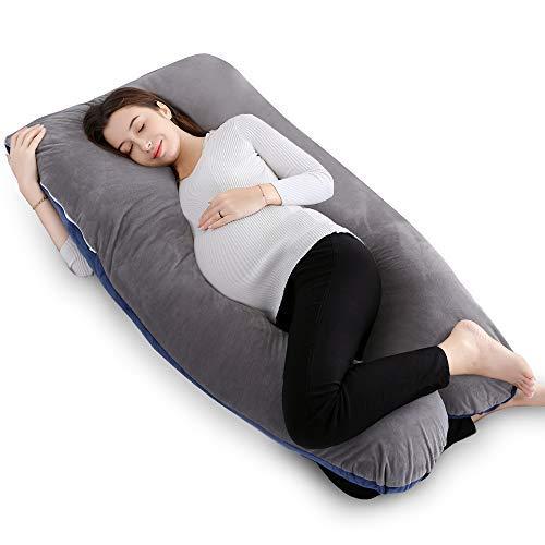 QUEEN ROSE Pregnancy Pillow and U-Shape Full Body Pillow with Velvet Cover,Navy Gray