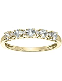 10k Yellow Gold White Sapphire and Diamond Accented Stackable Ring, Size 7
